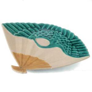 中皿 扇皿 付出皿 緑交し鶴 22.3cm 和食器 業務用 美濃焼 9b025-13