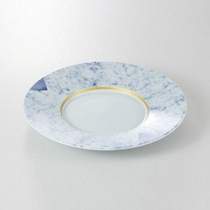 中皿 丸皿 前菜皿 8.0皿 金線呉須たたき 24.3cm 和食器 業務用 美濃焼 9b128-08