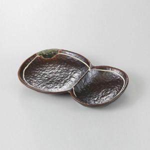 焼物皿 得々取皿 仕切り皿 鉄釉ライン 18.2cm 業務用 美濃焼 9b183-09
