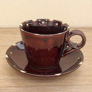 コーヒーカップソーサー 飴釉ドット 土物 美濃焼 和陶器 業務用 6b482-33