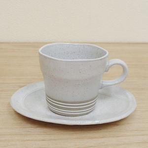 コーヒーカップソーサー 白釉一珍 土物 美濃焼 和陶器 業務用 6b482-09