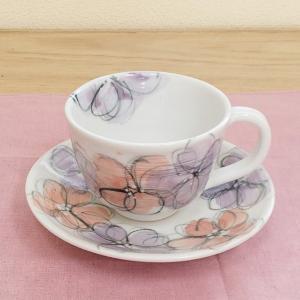 コーヒーカップ ソーサー 手描輪花 和陶器 おしゃれ 美濃焼 業務用 9b465-19 shikisaionline