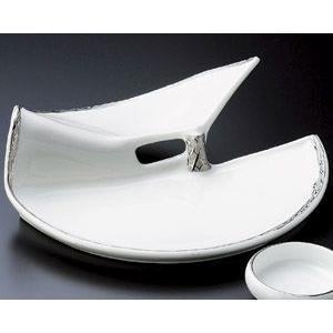 刺身皿 渕プラチナ白二段前菜皿 美濃焼 9d05007-148