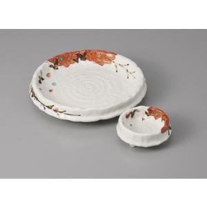 刺身皿と醤油小皿のセット。多彩な料理に対応できる業務用和食器です。 サイズ:刺身鉢:W17×H3cm...