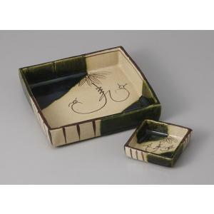 刺身鉢 ちょこ 醤油皿 セット 織部つる花 土物 刺身皿 和食器 業務用 美濃焼  9a17-9-1...