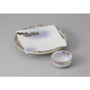 刺身皿 ちょこ 醤油皿 セット 花がすみ 和食器 業務用 美濃焼  9a19-25-26