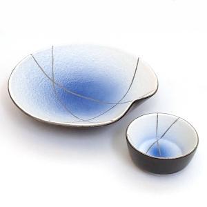 刺身皿とちょこのセット コバルト銀彩 醤油皿 和食器 業務用 美濃焼  9a21-3-4