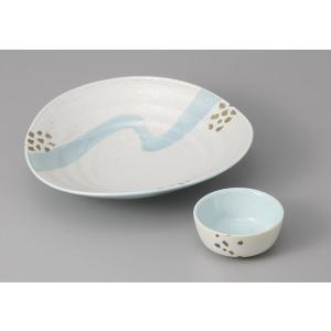 刺身皿と醤油小皿のセット。多彩な料理に対応できる業務用和食器です。 サイズ:楕円6.0向付:W19×...