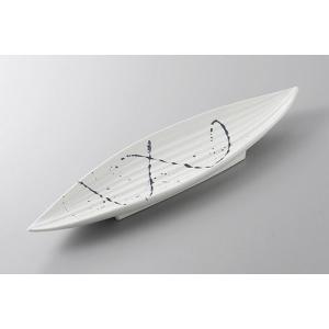 大皿 前菜皿 白結晶黒とばし笹型長皿 41cm 和食器 業務用 美濃焼 9a169-2-77g