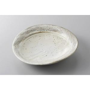 中皿 前菜皿 粉引櫛目楕円皿 19cm 和食器 業務用 美濃焼 9a169-14-45g