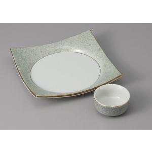 刺身皿とちょこのセット 淵金グリーン吹 醤油皿 和食器 業務用 美濃焼  9a22-23-24