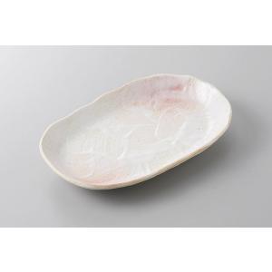 中皿 前菜皿 桜志野小判皿 21cm おしゃれ 和食器 業務用 美濃焼 9a213-16-60g