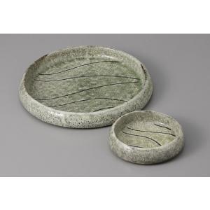 刺身皿とちょこのセット 緑彩カイラギ 土物 醤油皿 和食器 業務用 美濃焼  9a23-3-4