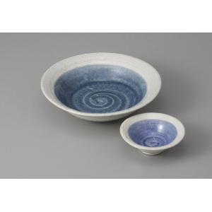 刺身鉢とちょこのセット ゴス巻 土物 刺身皿 醤油皿 和食器 業務用 美濃焼  9a24-20-21
