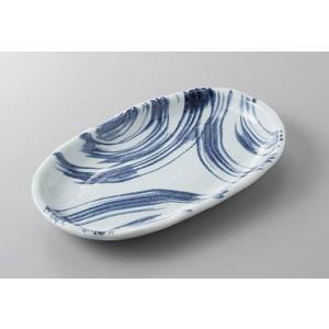 焼物皿 海流玉淵6.5小判皿 18.3cm 和食器 業務用 美濃焼 9a215-4-51g