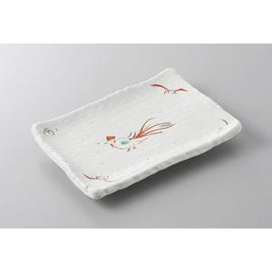焼き物皿 赤絵鳥6.0長角皿 美濃焼 業務用 7a220-13-35f