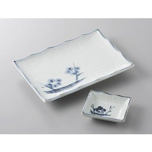 8.0焼き物皿と小皿のセット 青地布目梅 和食器 業務用 美濃焼 サイズ:8.0焼物皿W21×D15...