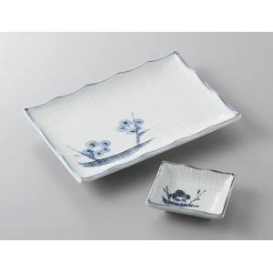 7.0焼き物皿と小皿のセット 青地布目梅 和食器 業務用 美濃焼 サイズ:7.0焼物皿W17.5×D...