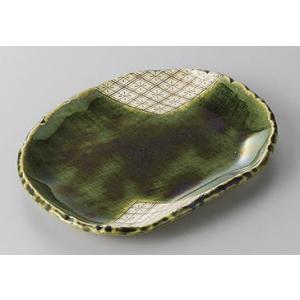 中皿 織部菱紋楕円皿 15.8cm 和食器 業務用 美濃焼 9a252-11-71g