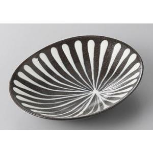 中皿 スリップウェア楕円皿 16cm 千段 和食器 業務用 美濃焼 9a252-1-33g