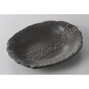 中皿 黒釉石目楕円皿 17.5cm 和食器 業務用 美濃焼 9a253-6-45g