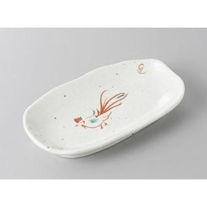 赤絵鳥楕円皿 和皿 和食器 業務用 美濃焼 7a264-18-35f