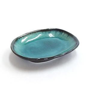 小皿 ヒスイ天目小判皿 楕円皿 11.6cm おしゃれ 和食器 業務用 美濃焼 9a240-68-2...