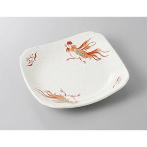 正角皿 赤絵鳥 8.0皿 和食器 業務用 美濃焼