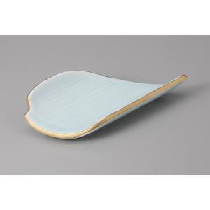 刺身皿 向付 青磁変形笹形前菜皿 和食器 業務用 9a172-3-22g