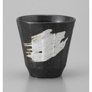 ロックカップ フリーカップ 黒刷毛目けずり おしゃれ 陶器 業務用 美濃焼 9a416-22-8g