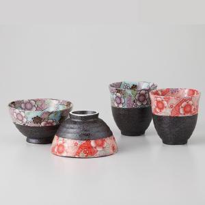 夫婦茶碗と湯呑みのセット 京友禅 箱入り ギフト プレゼント 7a37-3|shikisaionline