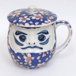 蓋付き湯のみ ダルマ呉須桜花ウーロン茶 美濃焼 shikisaionline