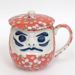 蓋付き湯のみ ダルマピンク桜花ウーロン茶 美濃焼 shikisaionline