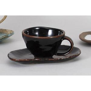 コーヒーカップソーサー 天目木の葉 和風 陶器 業務用 美濃焼