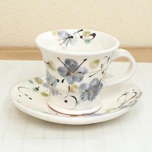コーヒーカップ ソーサー ビードロ花画 和陶器 おしゃれ 業務用 美濃焼 9a775-24-2g shikisaionline