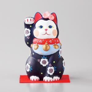 招き猫 雅招猫 中 紫 箱入り 縁起物 ギフト プレゼント|shikisaionline