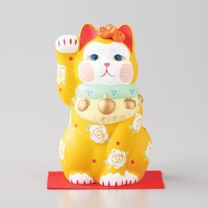 招き猫 雅招猫 中 黄 箱入り 縁起物 ギフト プレゼント|shikisaionline
