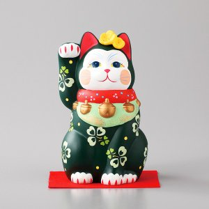 招き猫 雅招猫 中 緑 箱入り 縁起物 ギフト プレゼント|shikisaionline