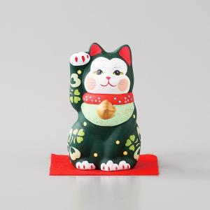 招き猫 雅招猫 小 緑 箱入り 縁起物 ギフト プレゼント|shikisaionline