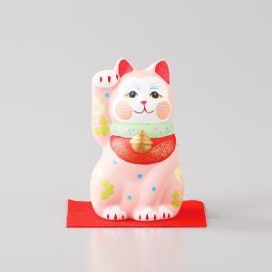 招き猫 雅招猫 小 桃 箱入り 縁起物 ギフト プレゼント|shikisaionline