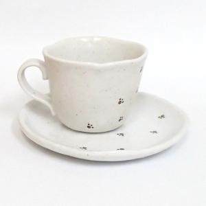 コーヒーカップ ソーサー 足あと 和陶器 箱入り ギフト プレゼント 日本製 8a31-54|shikisaionline