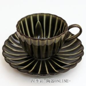 ぎやまん陶 コーヒーカップ ソーサー 利休グリーン コーヒーカップ 陶器 おしゃれ 美濃焼 業務用9b465-07|shikisaionline