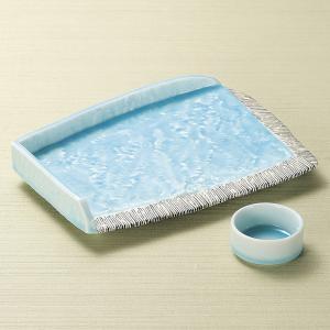刺身皿と醤油小皿のセット。多彩な料理に対応できる業務用和食器です。 サイズ:湖水屏風型変形皿:W27...