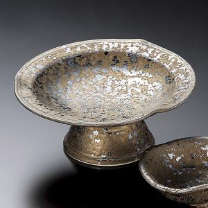 刺身皿とちょこのセット 金結晶三ッ押高台刺身皿 醤油皿 和食器 業務用 美濃焼 9d05413-14