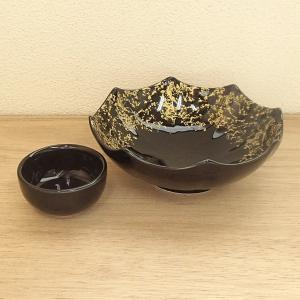 刺身鉢とちょこのセット 黒釉金タタキ八角刺身鉢 醤油皿 和食器 業務用 美濃焼9d05918-19