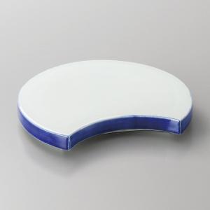 刺身皿 向付 青磁渕ゴス半月皿 和食器 業務用 美濃焼 9d06408-178|shikisaionline
