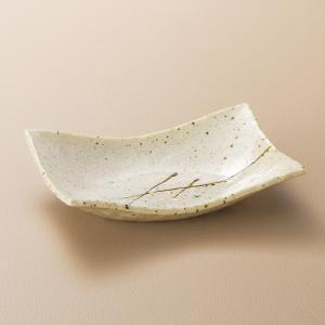 刺身皿 向付 アメ乱長角そり皿 長角皿 和食器 業務用 美濃焼 9d06524-308|shikisaionline