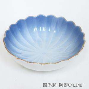 小鉢 渕金コバルト菊型鉢 和食器 美濃焼 業務用|shikisaionline