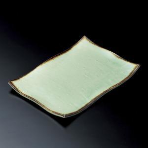 大皿 ビードロ灰釉渕タタラ型長角皿 和食器 業務用 美濃焼|shikisaionline