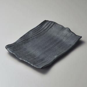 大皿 黒いぶし10号角皿 長角皿 和食器 業務用 万古焼|shikisaionline